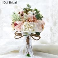 ريفي الزفاف باقة pal الوردي العاج الزفاف زهرة