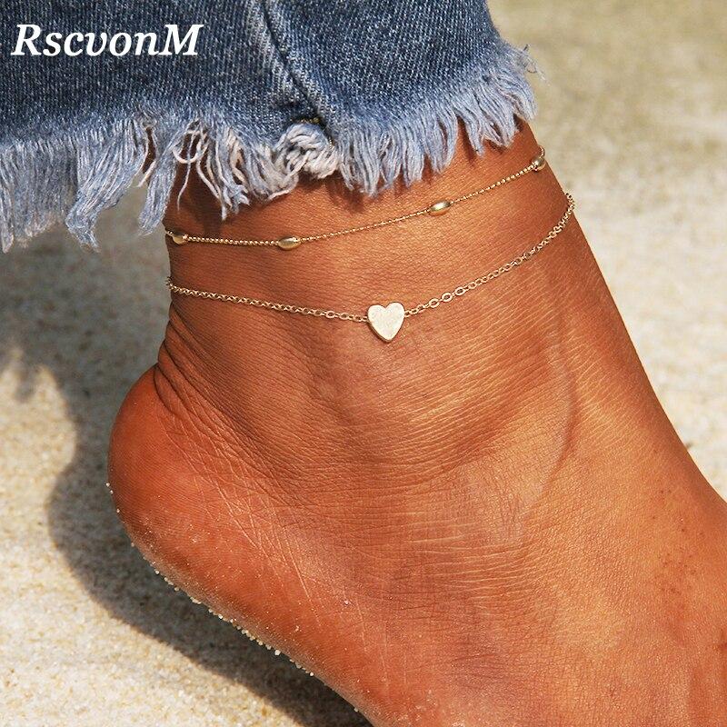 RscvonM Heart Female Anklets Barefoot Crochet Sandals Foot Jewelry Leg New Anklets On Foot Ankle Bracelets For Women Leg Chain