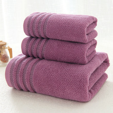 New Stripe Cotton Towel Bath of Three Sets Solid Color Thicken Bathroom Towels Set Soft Comfortable Unisex Toalhas 140x70
