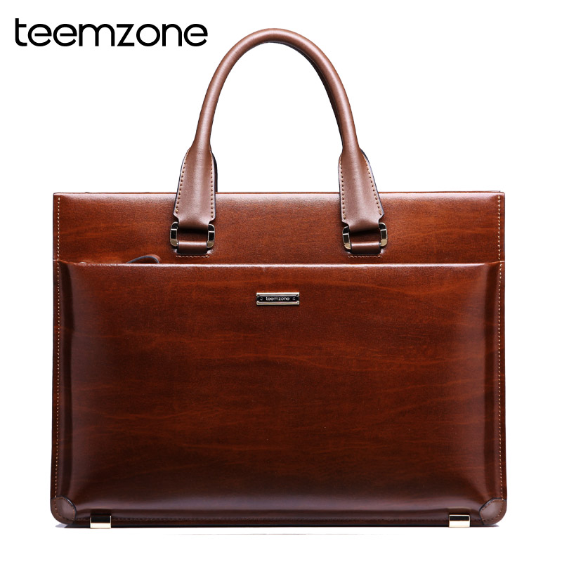 teemzone Men Genuine Leather High End Business Briefcase Messenger Laptop Case Attache Bag Brown attache portfolio tote T0650 teemzone top men genuine leather vintage formal business lawyer briefcase messenger shoulder attache portfolio tote brown t0581