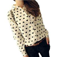 Blusas Femininas Vintage Women's Sweet Shirt Chiffon Blouse Love Heart Sweet Black Women Long Sleeve Tops