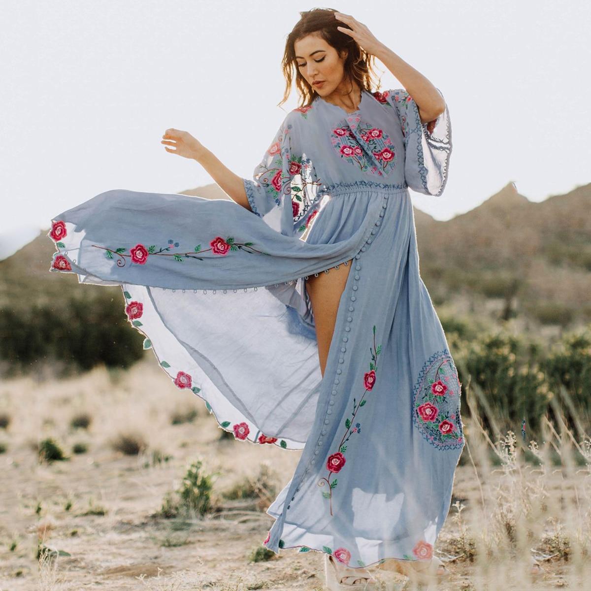 Jastie Boho Chic robe brodée o-cou manches chauve-souris lâche femmes robes décontracté plage Maxi robe 2019 robes d'été Vestido