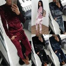 3XL Two Piece Women's Set Tracksuit Velvet Hoodies Top + Pants Sporting Suits