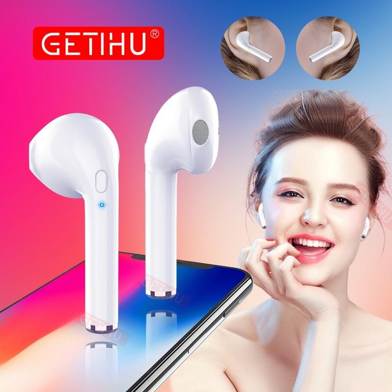 Getihu Мини Bluetooth наушников телефон Спорта Гарнитуры Стерео Наушники Беспроводной Наушники наушники для iPhone 7 8 x