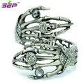 Fashion Vintage Bracelet Palm Skeleton Skull Bracelets and Bangles w/ Black Rhinestone Crystals Women Jewelry Free Shipping