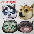 Bolsa Da moeda 2016 Catálogo Completo 3D animal impresso padrão Novo e incomum cão Pug bolsa de tecido bolsa de fábrica por atacado das crianças bolsa