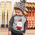 Hot Crianças Roupas de Natal Papai Noel Do Natal Meninos T Shirt do Desenhista Meninos Da Criança Do Bebê Roupas de Algodão de Manga Longa Camiseta