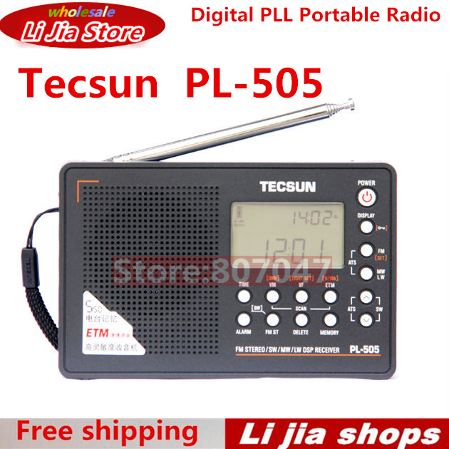 TECSUN PL-505 Digital PLL Portable Radio FM Stereo/LW/SW/MW DSP Receiver 10 pcs pocket radio 9k portable dsp fm mw sw receiver emergency radio digital alarm clock automatic search radio station y4408h