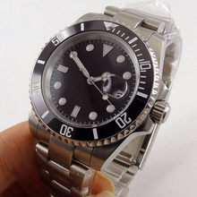 Сапфировое стекло BLIGER 40 мм черный стерильный циферблат для мужчин часы керамика ободок Miyota автоматические двигаться t световой наручны