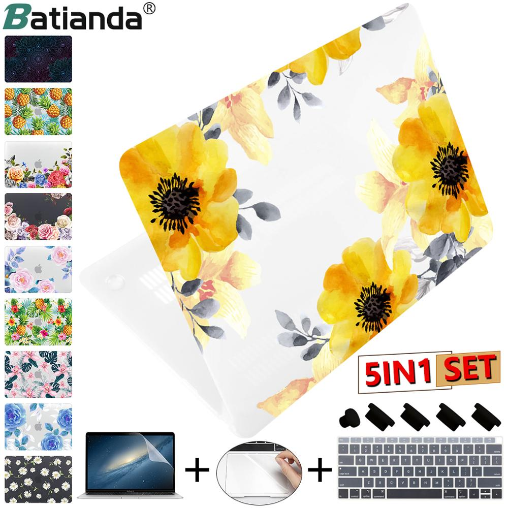 2019 New Matte Clear Painting Flowers Laptop Case For Apple MacBook Pro Retina 12 13 15 Touch Bar & Air 11 13.3 Inch 2018 A1932