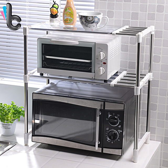 High Quality 2 Layer Storage Holder Microwave Oven Stainless Steel Shelf  Floor Type Adjustable Kitchen Storage
