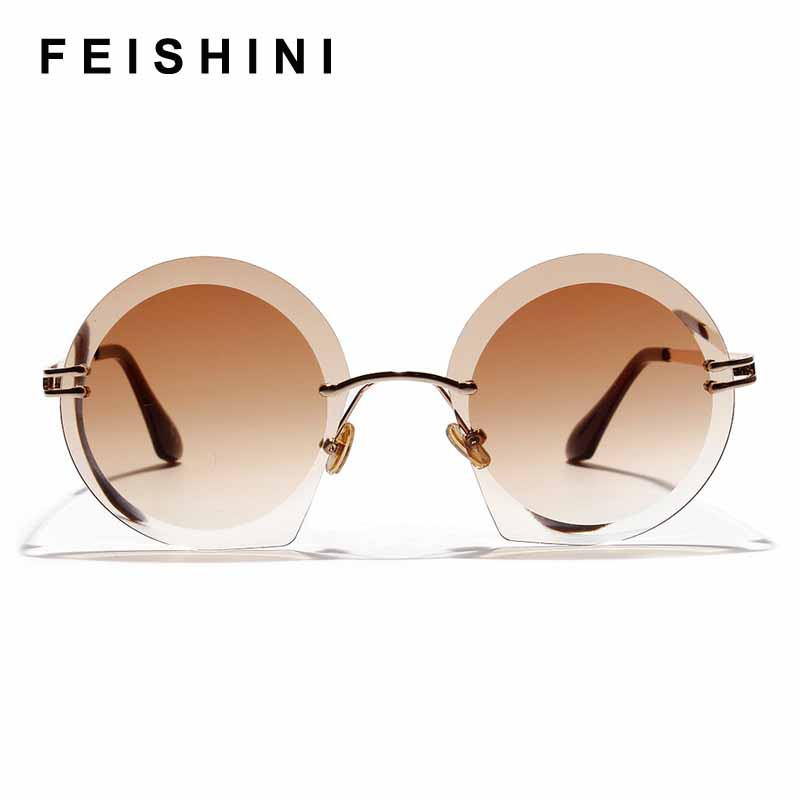 FEISHINI Fashion Green Gradient Sun glasses Brand Luxury Round Rimless Sunglasses Women Vintage Oversized Frame Classic Designer in Women 39 s Sunglasses from Apparel Accessories
