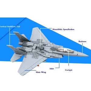 Image 2 - 270pcs Military Series F 15 Eagle Fighter Building Blocks Model Army Technic Airplane Set Bricks City Children Toys Kids Gift