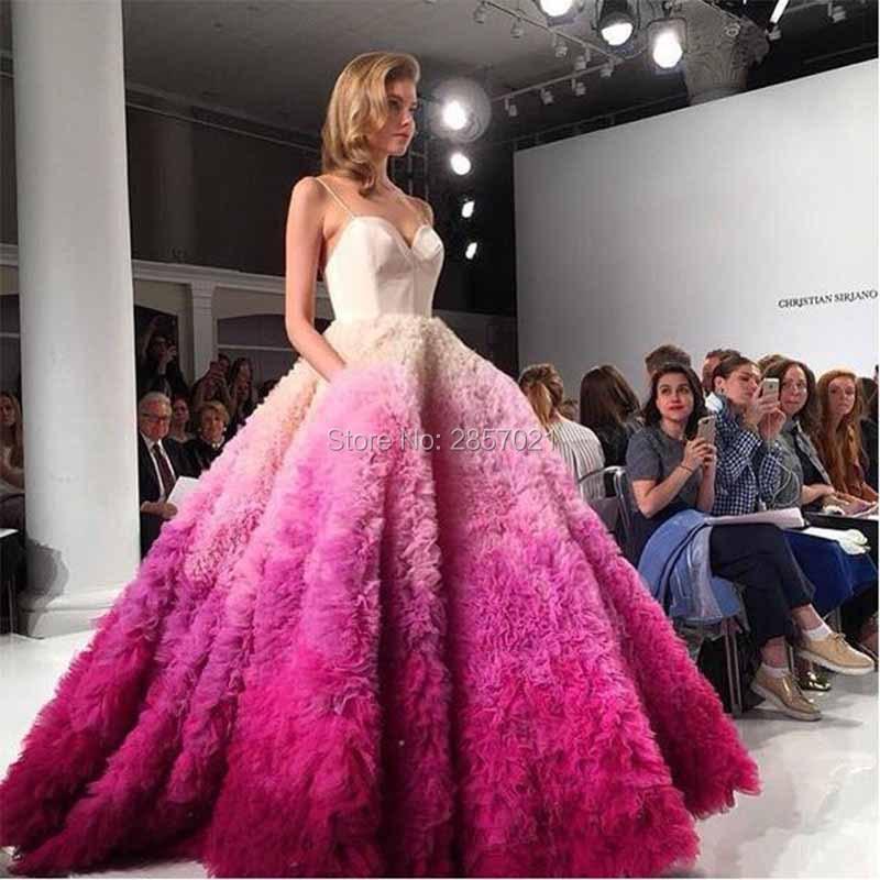 Robe 2017 Farbverlauf Ballkleid Brautkleider Plus Size Puffy Tüll ...