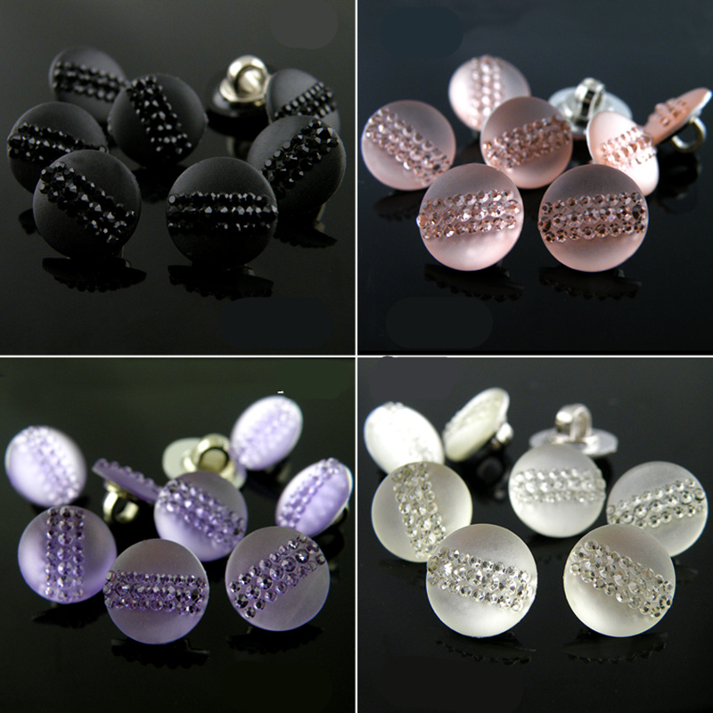20pcs 24 styles 10mm-12mm Plastic rhinestone buttons Scrapbooking sewing shank buttons for clothes sewing accessories.