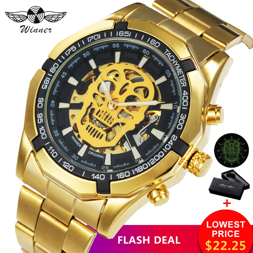 Watches Winner Classic Golden Skeleton Mechanical Watch Men Stainless Steel Strap Top Brand Luxury Man Watch Vip Drop Shipping Wholesale Men's Watches