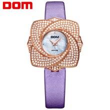 DOM mujeres estilo marca de lujo impermeable de los relojes de cuero de cuarzo cristal de zafiro reloj G-637
