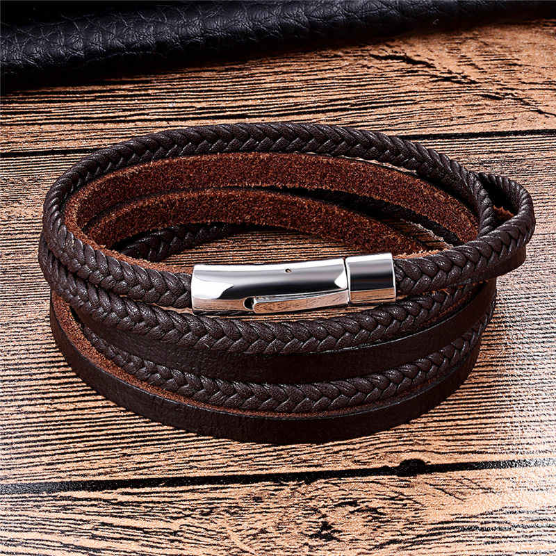 Men Bracelets Punk Leather Bracelet Stainless Steel Magnetic Buckle Fashion Bangle Cowhide Braided Rope Chain Women Gifts