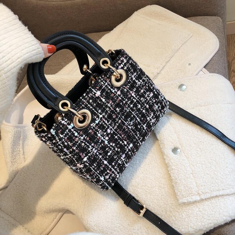 High quality brand designer bucket bag winter wool handbags small hand tote ladies messenger purse pu