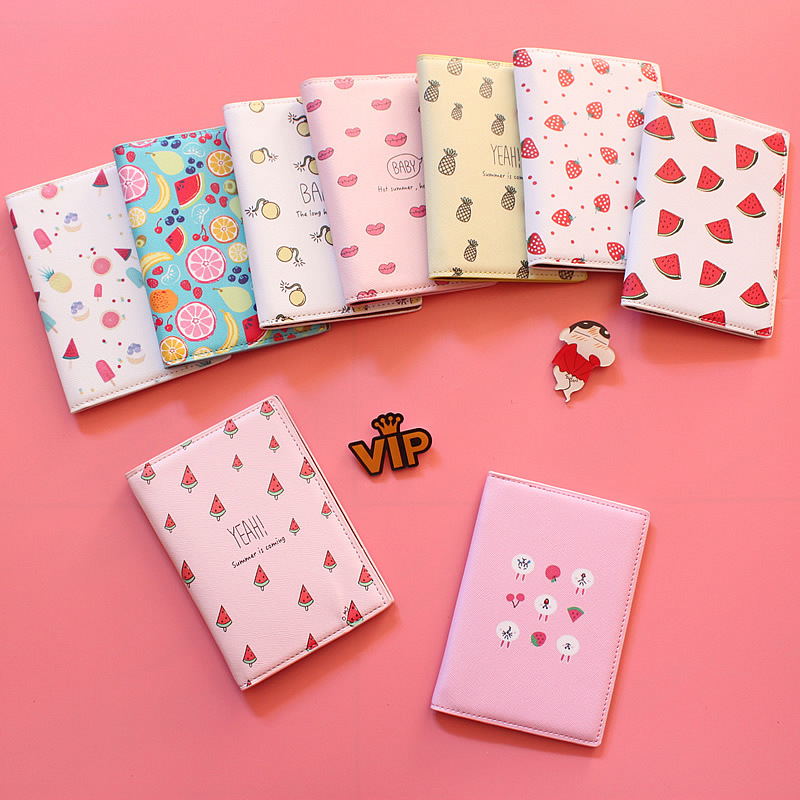 Cartoon Fruit Travel Passport Cover Credit Card Holder,PU Leather ID Card Bag,Business Porte Carte Simple 14*10CM