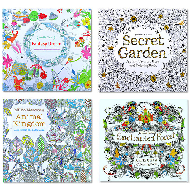 4 PCS 24 Pages Mixed Styles Relieve Stress for Kids Adult Fantasy Dream Painting Drawing Secret Garden Kill Time Coloring Book