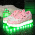 Американский Флаг Дети Led Shoes Kids Light Up Shoes Мальчики Повседневная Прогулки Кроссовки Для Девочек Отдыха Usb Квартиры 2016