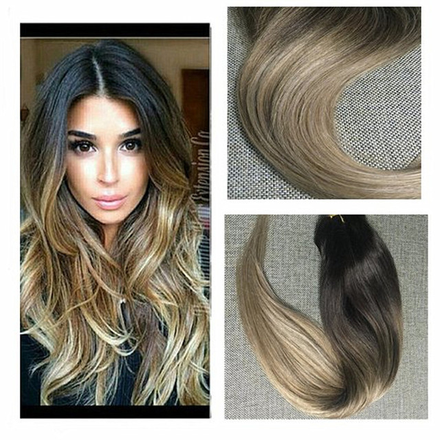 Full Shine Balayage 8a Clip In Human Hair Extensions Brazilian Remy