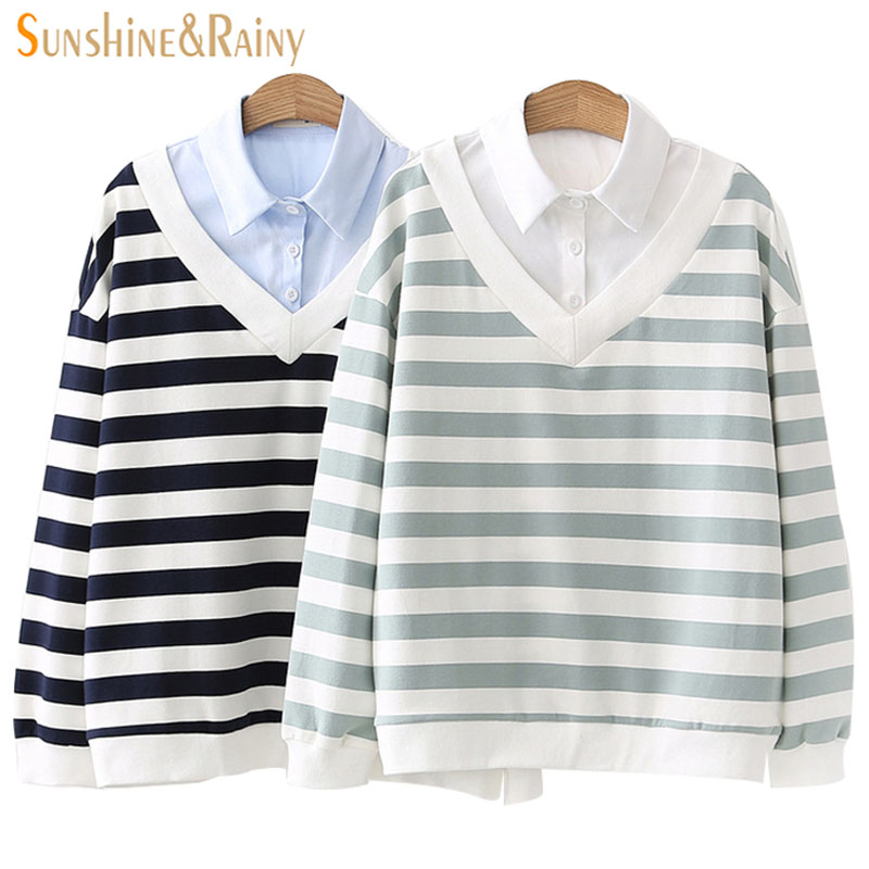 Female Student Sweatshirt Loose Shirt Collar Coat 2018 New Spring Autumn Womens Striped College Style Pullovers Sweatshirt