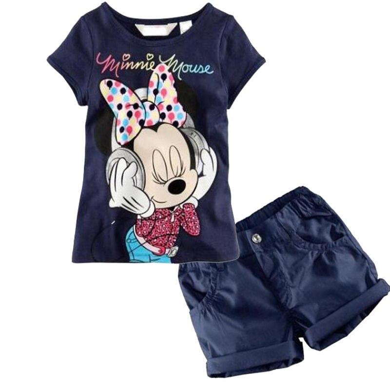2016 yeni Bebek Erkek Kız Minnie Mouse elbise setleri Çocuk 2 adet takım elbise T-Shirt Şort yaz çocuk Giyim Seti 1-6Y