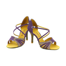 YOVE Dance Shoes Satin Women's Latin/ Salsa Dance Shoes 3.25″ Slim High Heel More color LD-1115