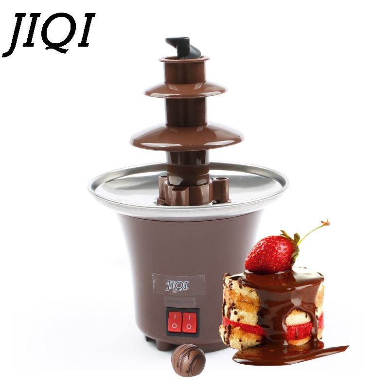 JIQI Household DIY 3-tier chocolate fountain fondue mini Choco waterfall machine three layers Children Birthday heat melts EU US tinton life creative design mini chocolate fountain for sale fondue machine chocolate melts with heating
