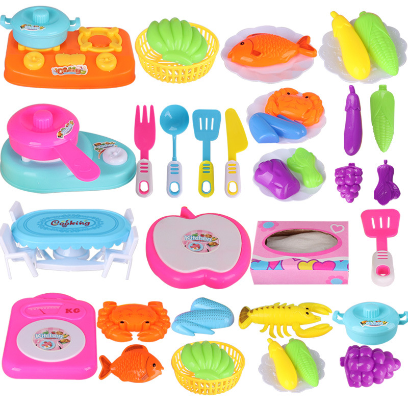 Male Girl Play House Kitchen Toy Cooking Tableware Children's Educational Simulation Food Fruit And Vegetable Set Toy
