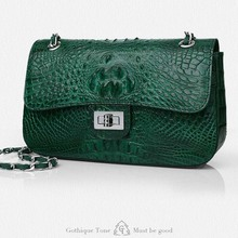 Gete new fashion crocodile handbag inclined shoulder bag one shoulder bag leather ladies handbags chain bag handbag