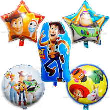 5pcs/lot woody helium balloons foil material mixed style cartoon party lightyear for birthday