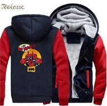 Dealpool Hoodie Men I Am The Night Hooded Sweatshirt Funny Coat 2018 Winter Warm Fleece Thick Super Hero Deal Pool Jacket Homme цена и фото