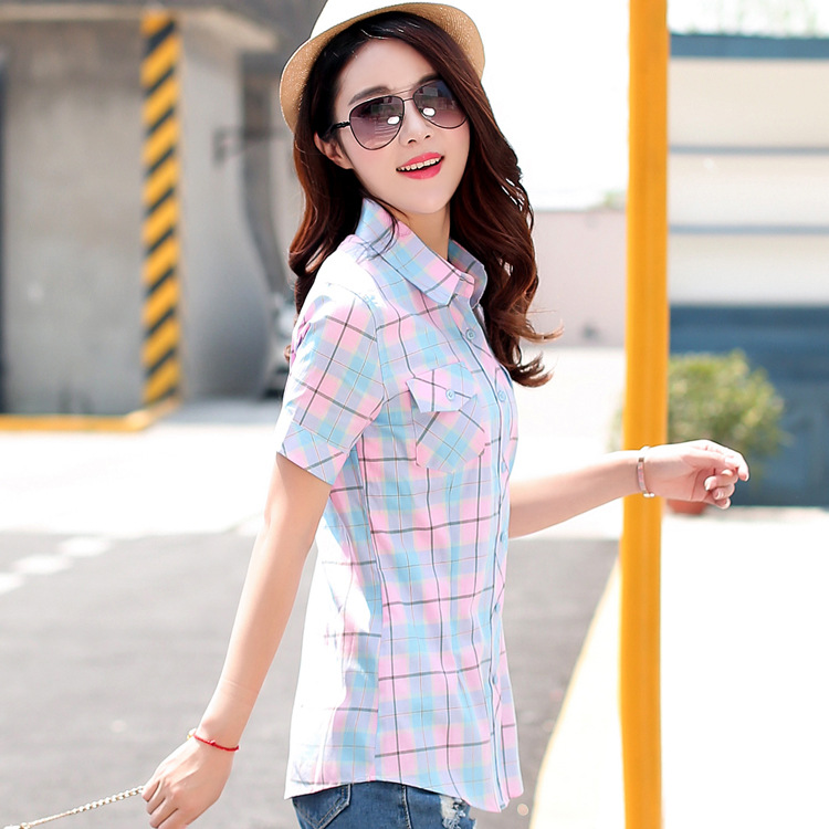 a67c3e6fe03 Brand New 2018 Summer Style Plaid Print Short Sleeve Shirts Women Plus Size  Blouses Casual 100