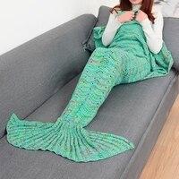HimanJie Mermaid Tail Blanket Yarn Knitted Handmade Crochet Mermaid Blanket Kids Throw Bed Wrap Super Soft