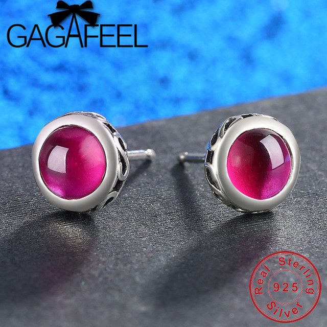 GAGAFEEL Exquisite Women Earrings Natural Stone Red Corundum Rhinestones 925 Sterling Silver Earring Fashion Female Jewelry Gift