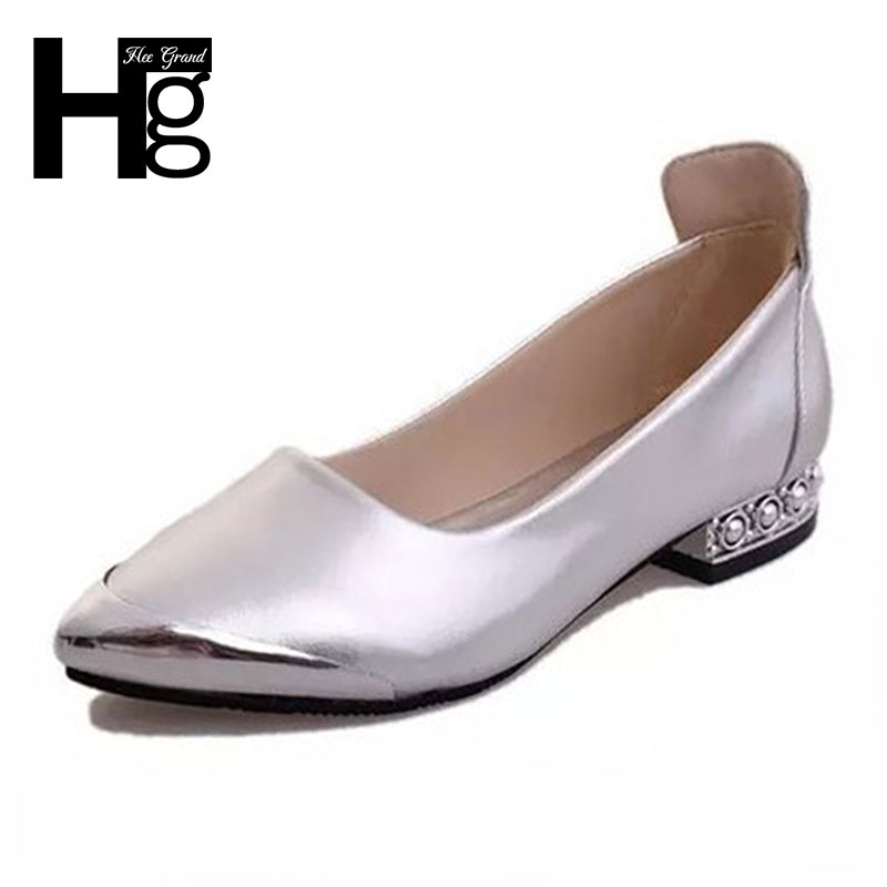 HEE GRAND Woman Fashion Pointed Toe Daily 2017 New Spring Summer Low Heel Women Shoes Size 35-39 XWD4972 gold sliver shoes woman for 2016 new spring glitter bling pointed toe flats women shoes for summer size plus 35 40 xwd1841