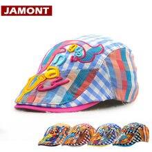 JAMONT  2018 otoño verano niños niño tapa visera boinas sombreros niños  del sombrero del Sol del algodón bordado carta Casual g. bcd0107882e