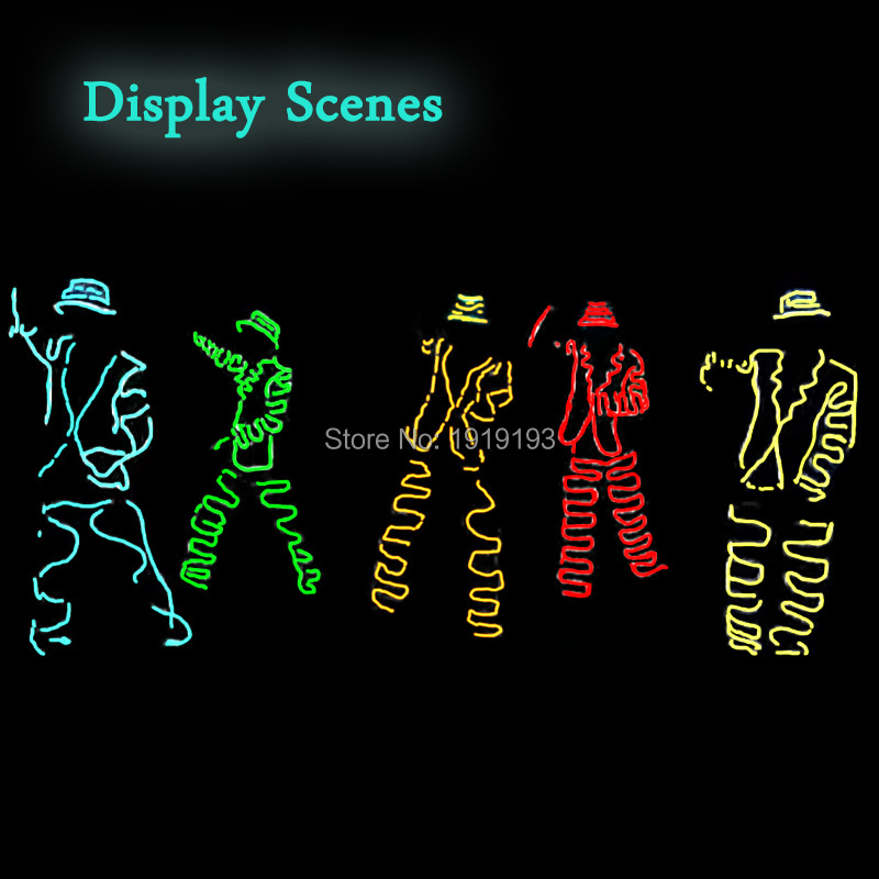 10 Color Choice Gangnam Style DIY LED Suit EL wire glowing Costume Light up clothing Neon Cold light Parts For holiday lighting