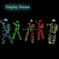 Oferta 10 colores, elección, estilo Gangnam, DIY, traje con LED EL wire, disfraz luminoso, luz de neón, partes de luz fría para iluminación de vacaciones