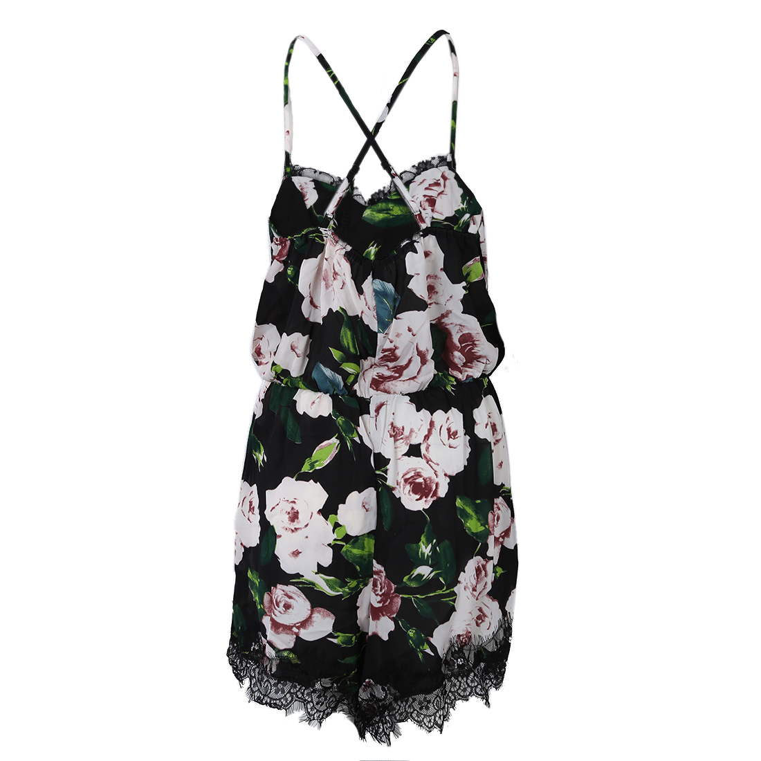 Women Floral Lace Chiffon Bodycon Jumpsuit Playsuit Romper Black Bottom with Pink Flowers