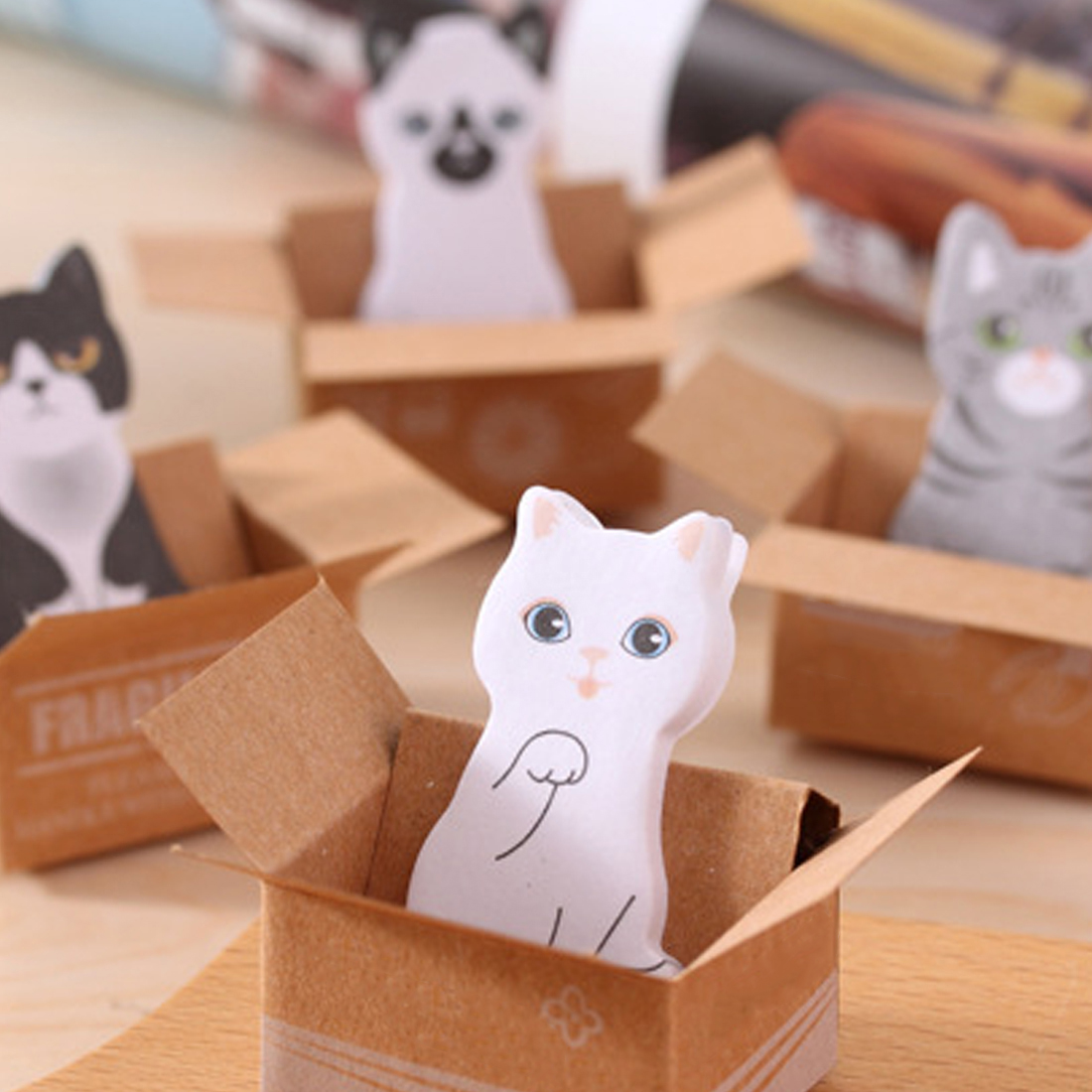 FangNymph Cute Cat Dog Box Stickers Scrapbooking Kawaii 3D Cartoon Stationery Sticky Notes School Supplies Post It Memo Pad