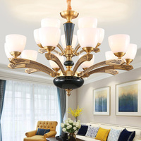 American style all cooper Chandeliers vintage glass LED hanging lamp with adjustable chains parlor dinning room Chandelier light