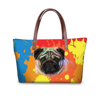 Fashion Colorful Pug Dog Print Women Messenger Bags Famous Brand Big Handbag for Feminina Travel Shoulder Tote Bags