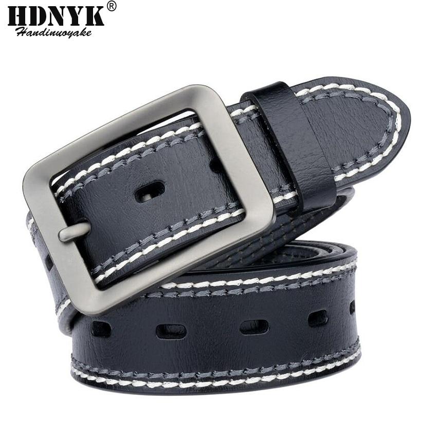 Fashion New Arrival Genuine Leather Men   Belt   Vintage Business Trouser Men Waist Strap Brand Cowskin Black Pin Buckle