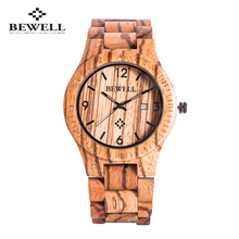 2016 New Bewell Men Wooden Watch New Year Gift Zebra Quartz Watch With Calendar Display Role Men Relogio Masculino Watches