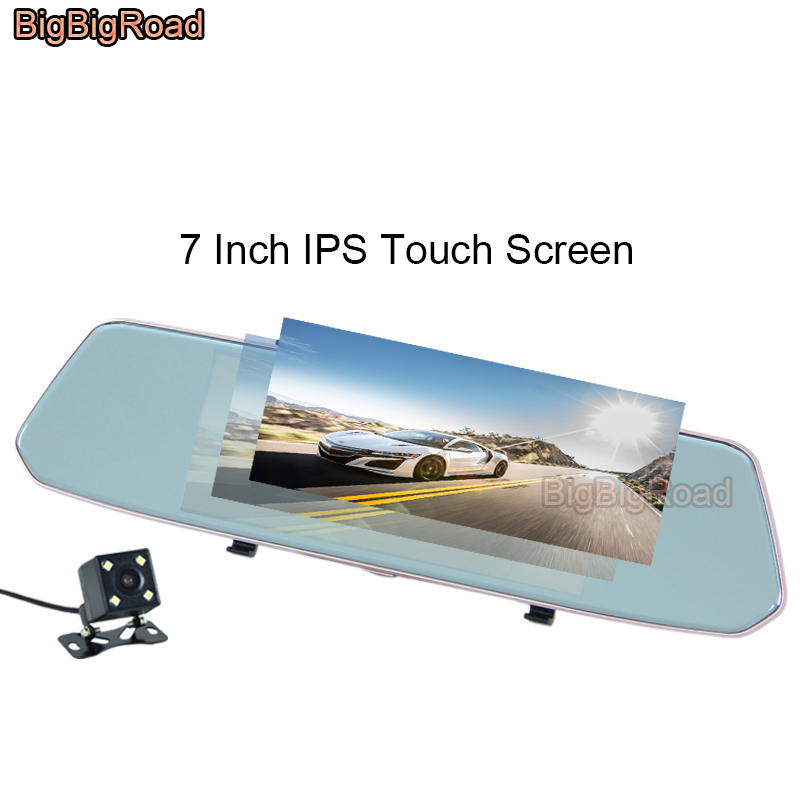 BigBigRoad For Toyota fj cruiser land cruiser prado 100 120 150 200 lc200 lc100 Car DVR Rear View Mirror 7 Inch IPS Touch Screen bigbigroad car hud windscreen projector for toyota land cruiser prado 70 90 120 150 lc 100 200 v8 200 lc200 head up display