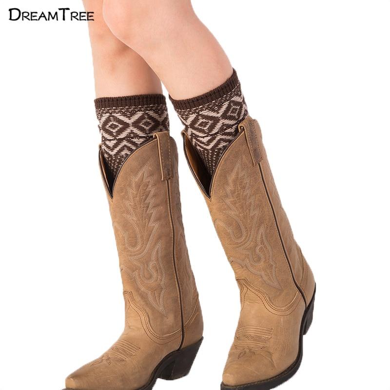 Dream Tree Boot Socks Short Boho Style Fashion font b Women b font Ladies Winter Knee